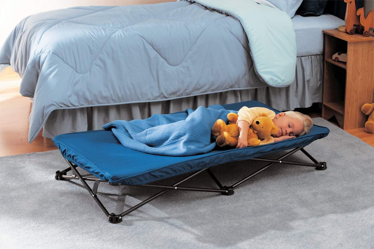 Not all hotels have toddler friendly beds, especially if they still roll out of bed at night. The portable sleeping cot is a great buy for that awkward age