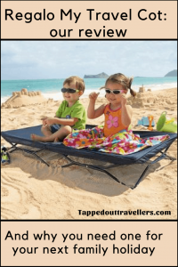 My Cot Portable Toddler Bed by Regalo. Great to use at the beach to sit up off sand #portable #travelgear #travelwithkids