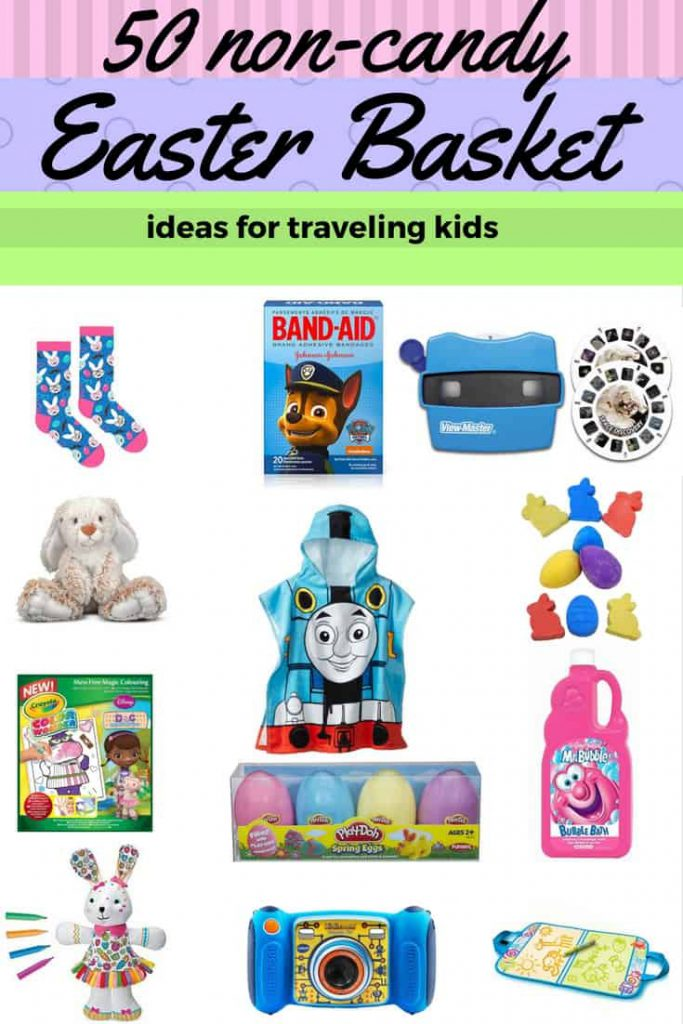 Non-Candy Easter Basket Ideas for traveling kids are becoming too hard to find. Here are 50 great ideas that are practical and lovable