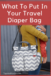 Travel Diaper Bag Essentials That You Need To Save Your Sanity. Packing a diaper bag is serious business! Here's a complete list of all the things you need! A great check list for moms-to-be! #diaperbag #babychangingbag #nappybag #mumbag #travelwithkids #familytravel